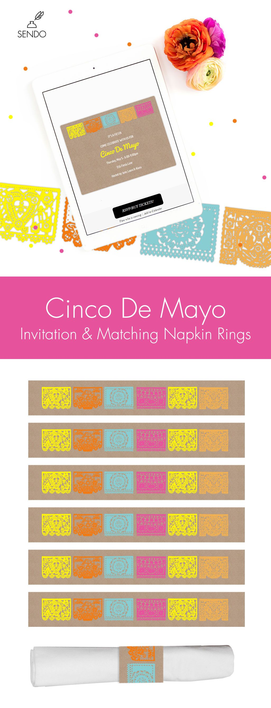 Cinco De Mayo Invitation Amp Napkin Ring Printable