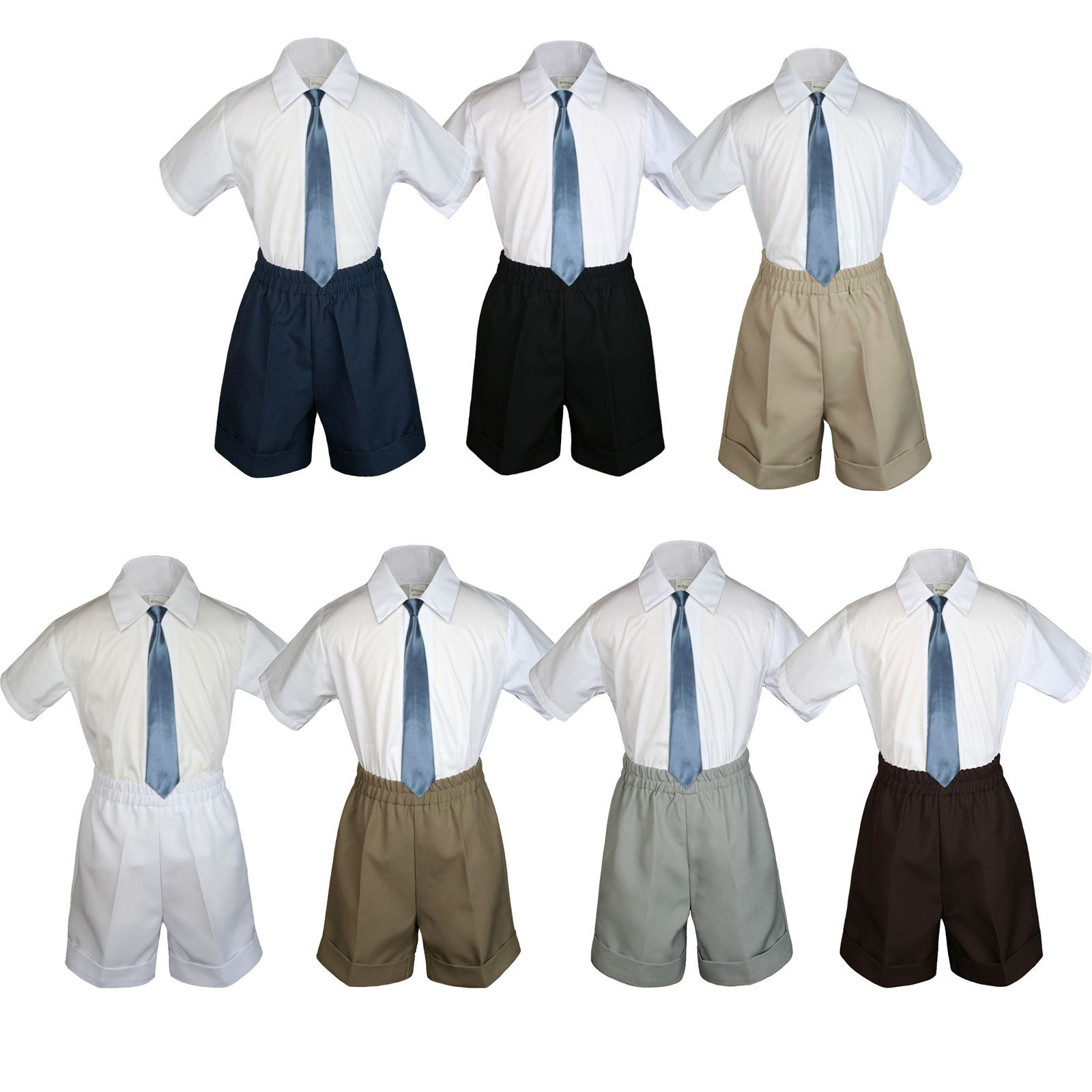 3pc Baby Toddler Kid Boy Party Formal Suit Brown Pants Shirt Bow Tie Set Sm-4T