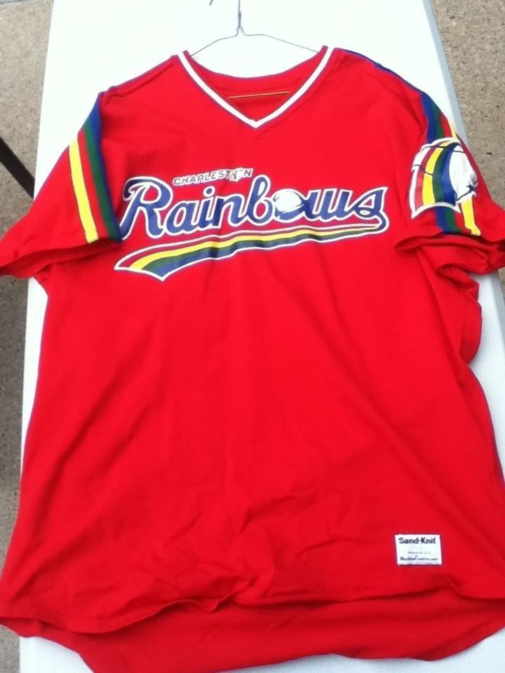 31246fd13 Vintage Charleston Rainbows Minor League Baseball Jersey Sand Knit Size 44  24
