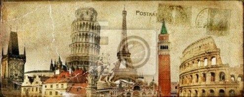 Vintage Europe Com Imagens Ilustracao Vindima Poster