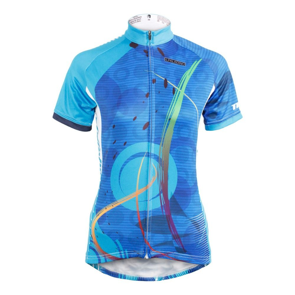 QinYing Women s Short Sleeve Outdoor Bicycle Bike Cycling Jersey Top Blue  XXL 3 pockets in the back Even you re sweaty cd6017c65
