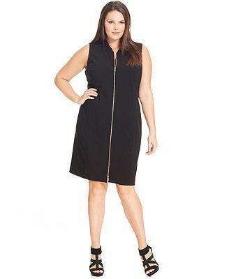 Calvin Klein Plus Size Sleeveless Zip-Front Dress | My Style | Zip ...