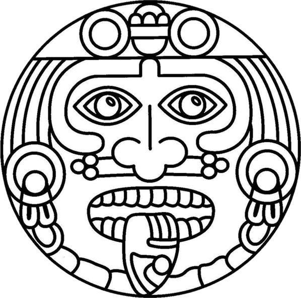 Coloring Book Aztec Sun Fiesta Mexicana Cinco de Mayo