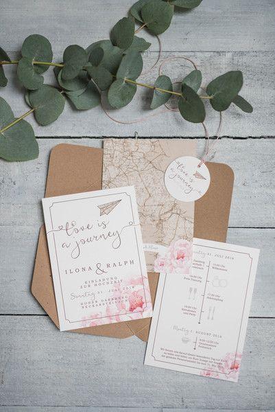Einladungskarten 50x Vintage Hochzeitseinladung Love Is A Journey