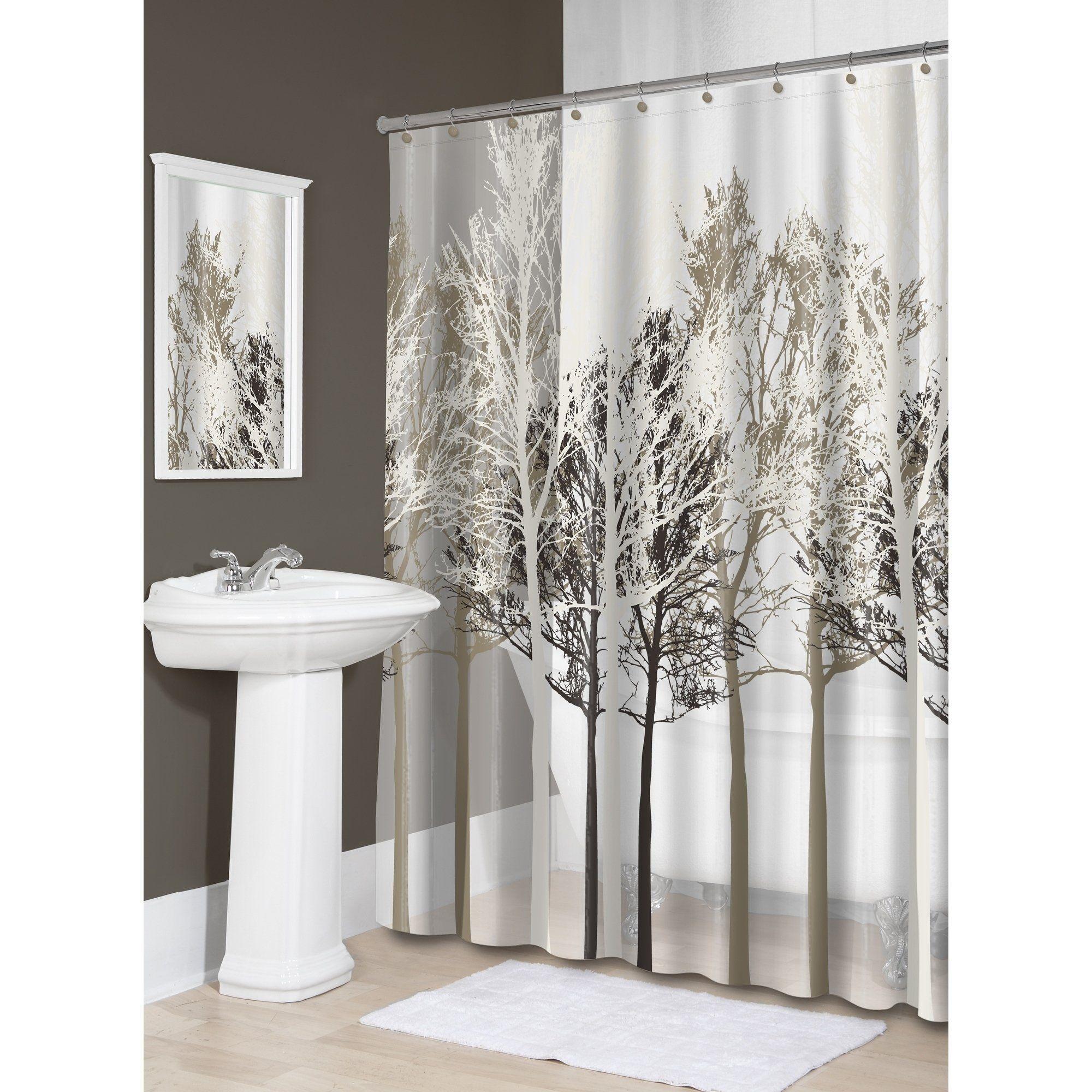 Splash Home Forest Peva Shower Curtain 72 X 70 Beige Fabric