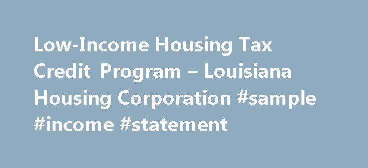 LowIncome Housing Tax Credit Program  Louisiana Housing
