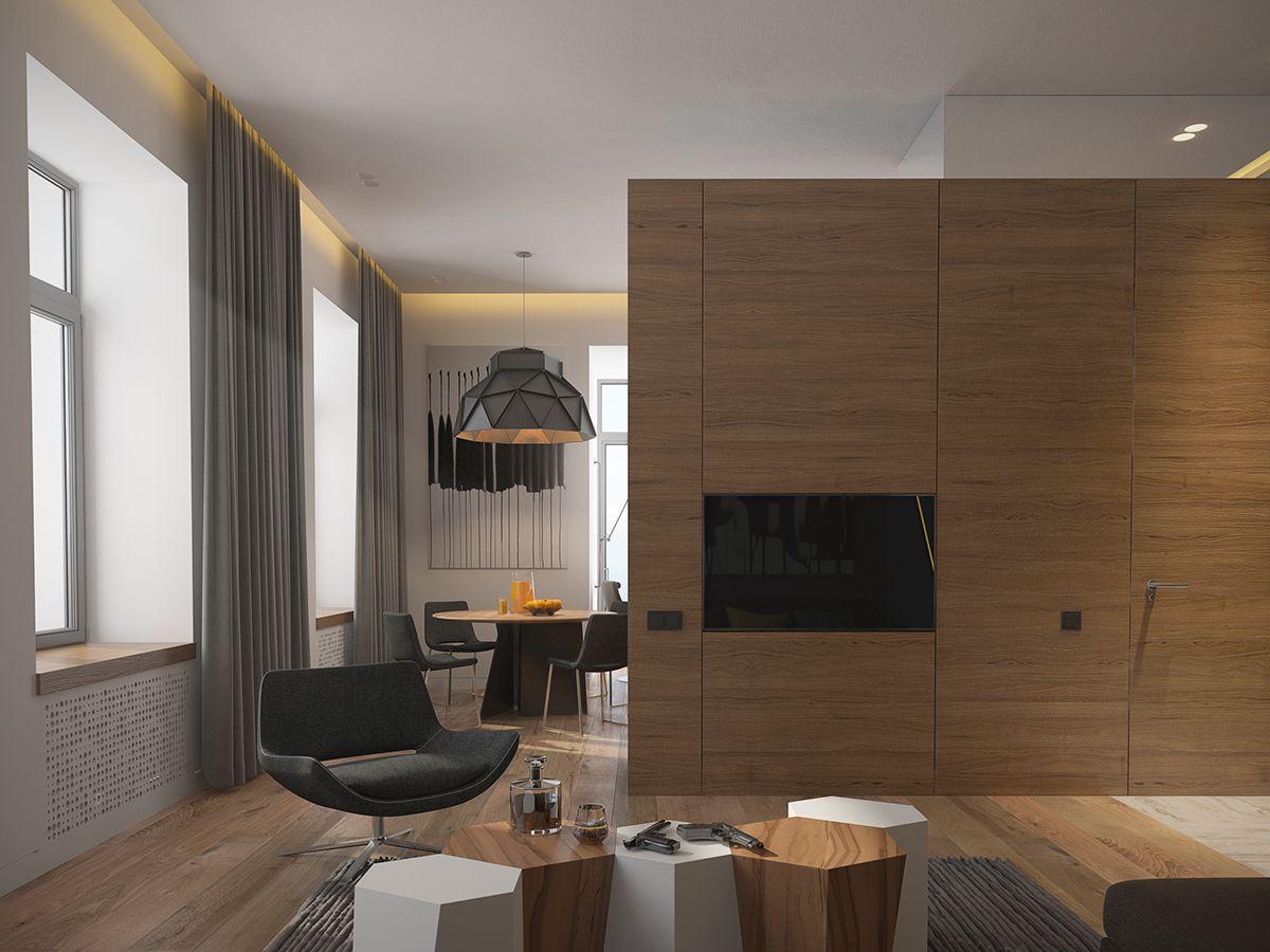 Mens Apartment | Wohnung Wohnzimmer, Esszimmer und Flure