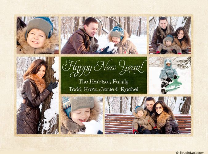 multi photo new year collage card family 2017 happy ivory green