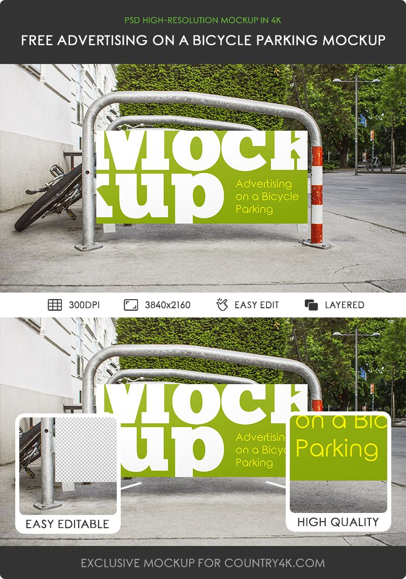 Download Free Advertising On A Bicycle Parking Psd Mockup In 4k Counrty4k Free Advertising Mockup Bicycle Advertising