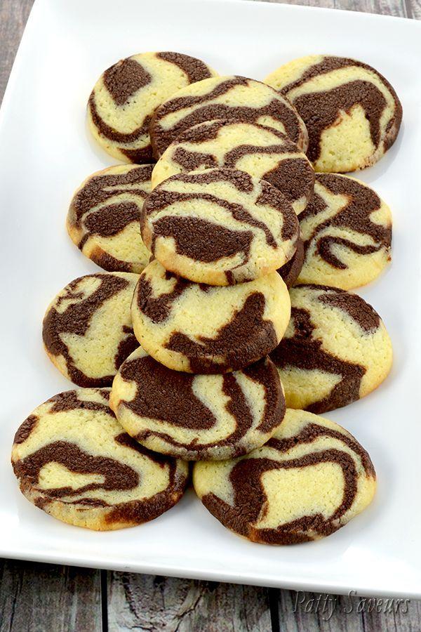 Recette de Cookies Marbrés au Chocolat Ces cookies marbrés au chocolat sont croustillants et bien chocolatés la saveur chocolat est composée d...