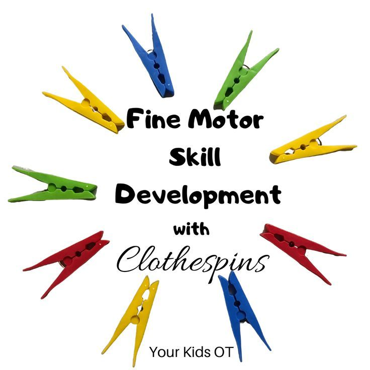 Fine motor skill development with clothespins pegs in