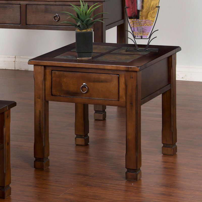 Santa Fe Slate Top End Table End Tables Contemporary End Tables