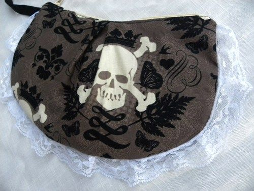 The Velma Clutch- Ready To Ship- Damask Skulls - something Brandy would like!