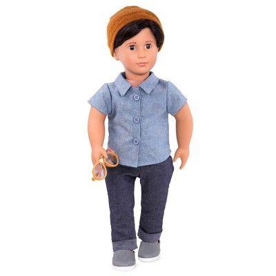 "Plaid Vest /& Black Pants-Boy fits 18/"" American Girl Doll Clothes White Shirt"