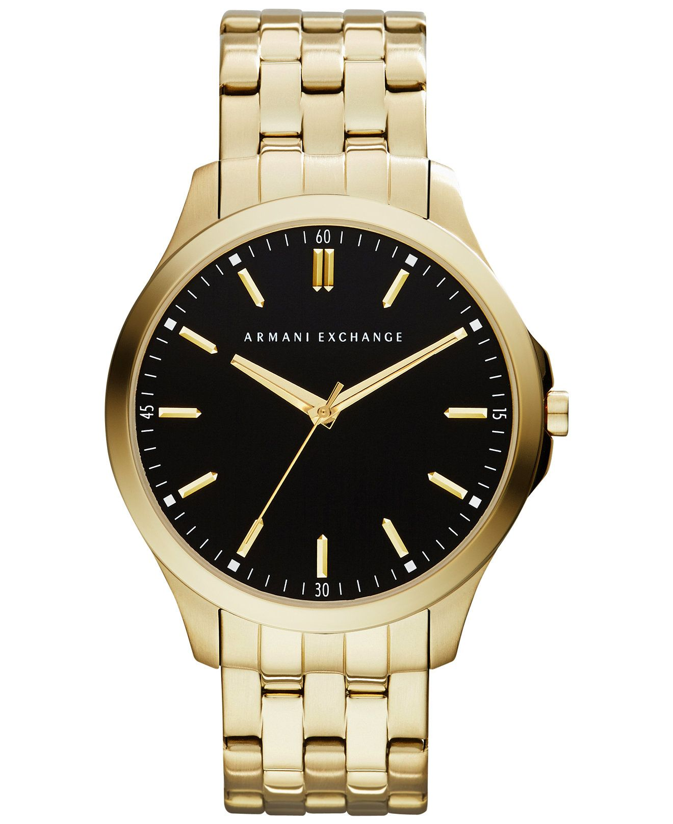 A x armani exchange men 39 s gold tone stainless steel bracelet watch 45mm ax2145 more stainless for Watches gold