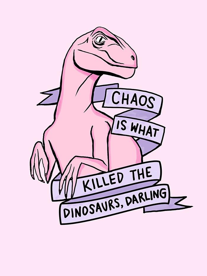 Chaos art print cran dinosaures et citation for Print ecran pc