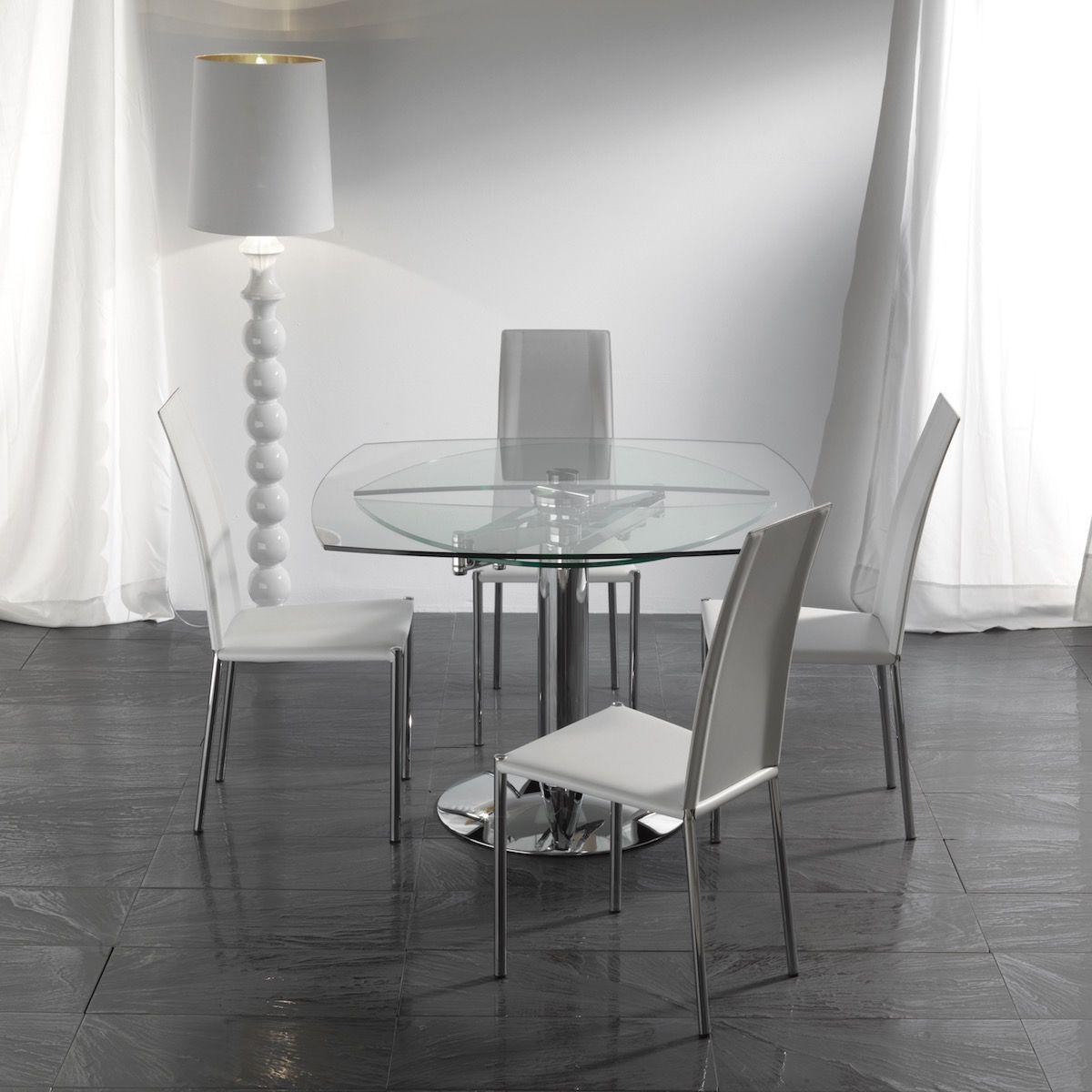 Tavolo Con Gamba Centrale Allungabile tavolo in vetro allungabile con gamba centrale bernat