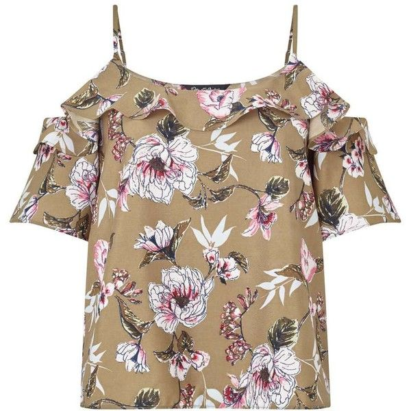 6617f77ca7bfd0 Miss Selfridge Khaki Floral Print Cold Shoulder Camisole Top (225 HRK) ❤  liked on Polyvore featuring tops