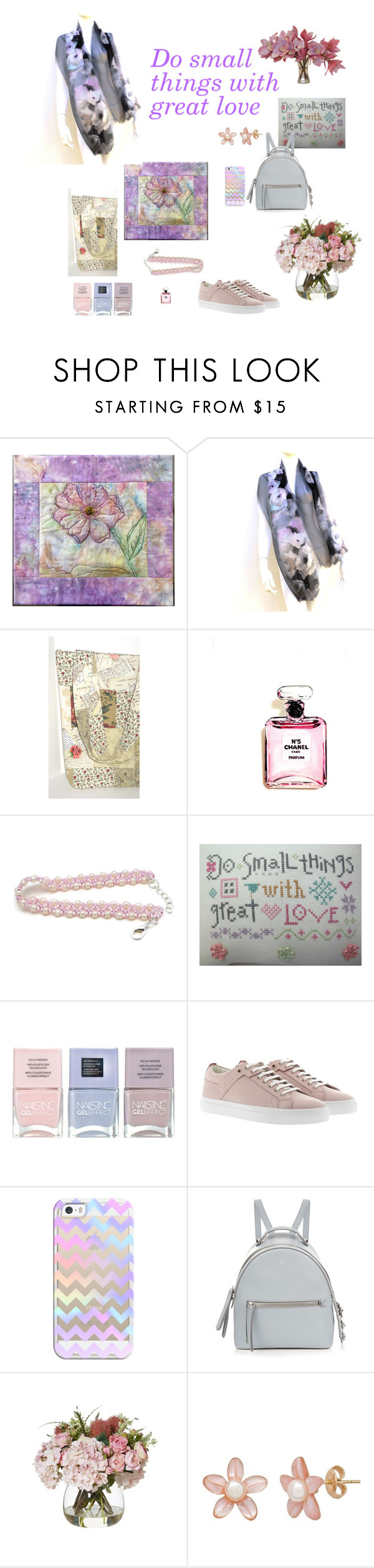 """Do small things with great love"" by juliaheartfelt ❤ liked on Polyvore featuring Chanel, Nails Inc., HUGO, Casetify, Fendi and The French Bee"