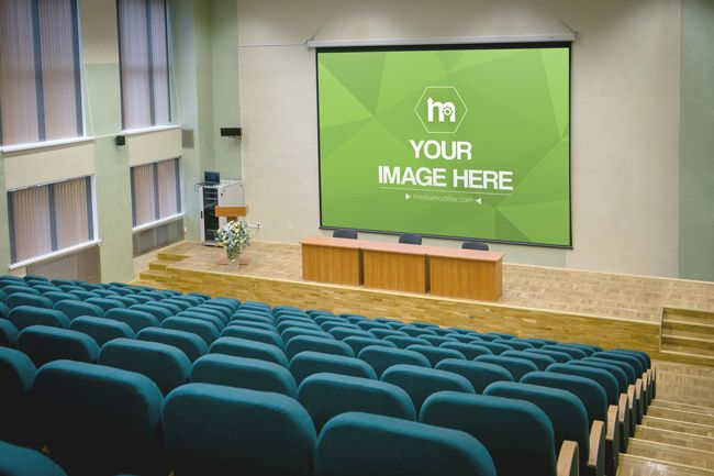 Creative Online Mockup Template Generator Of A Very Large Projector White Screen In A Movie Or Big Lecture Ha Large Projector Screen Projector Screen Projector