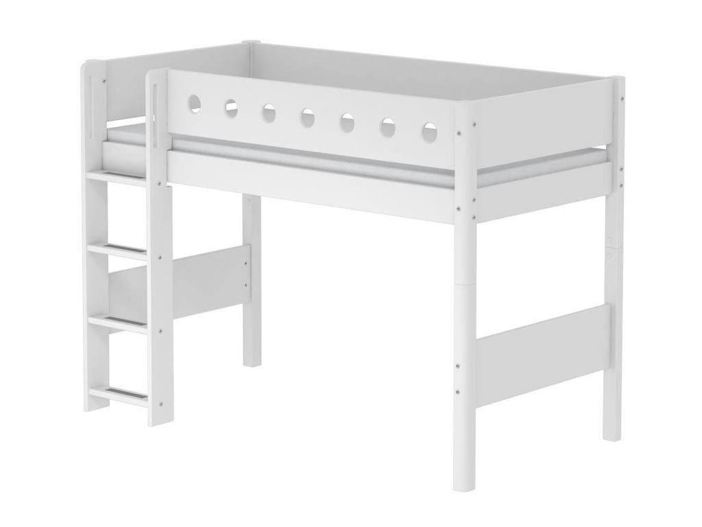 Steens Etagenbett Kiefer : Hochbett flexa white 90x190cm mit gerader leiter weiß höhe
