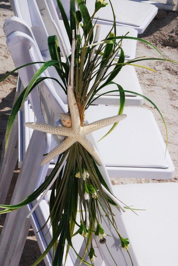 Beach Wedding Aisle Chair Decoration Starfish Beachy Sand Dollar
