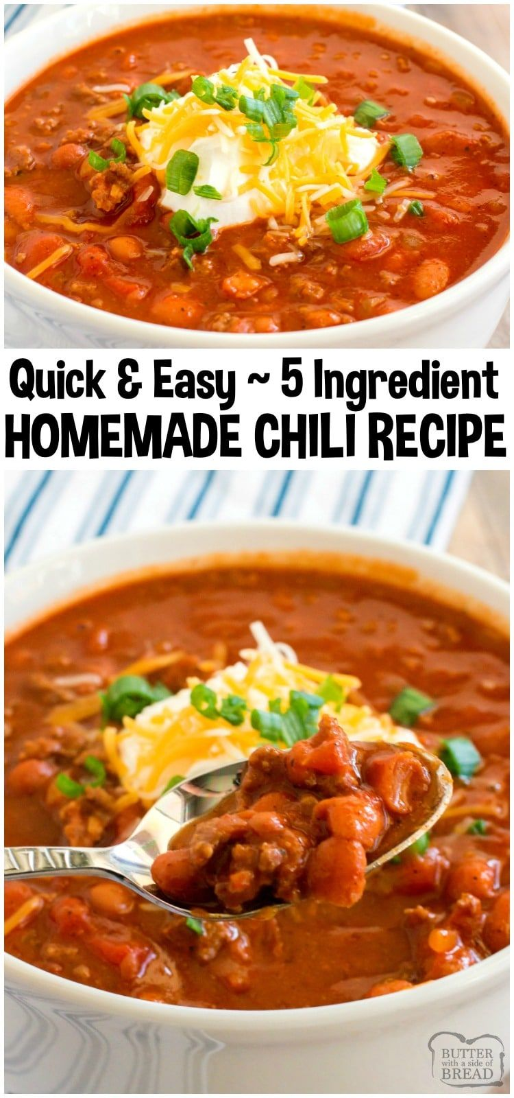 Easy Chili Recipe Made In Under An Hour With Just 5 Ingredients Simple Flavorful Ground B Chili Recipe Easy Ground Beef Chili Recipes Easy Beef Chili Recipe