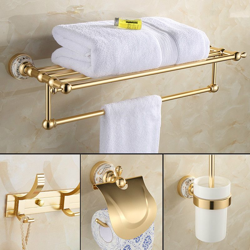 Antique Gold Bathroom Towel Rack Aluminum Space Suit European Package Thickened Double Pole Bathroom Hardware Set Bathroom Fixtures Bathroom Accessories Sets