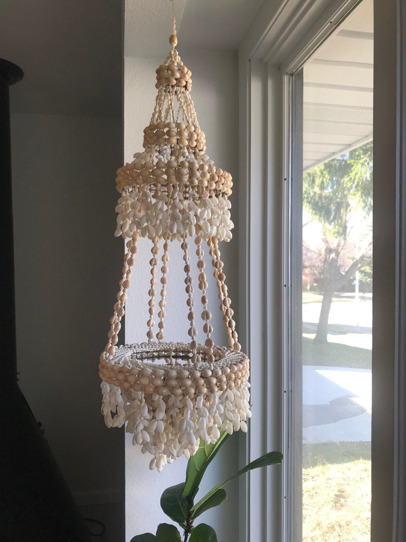 Vintage Seashell Hanging Planter Cowrie Shell Hanging Basket Seashell Mobile For Nursery Seashell Ch In 2020 Hanging Planters Seashell Chandelier Seashell Mobile