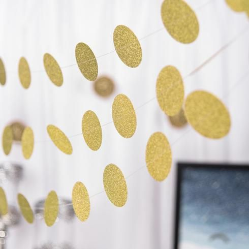 Set of 3 - 90 Long Circle Dot Party Paper Garland, Streamer Backdrop Hanging Decorations - Glitter Gold