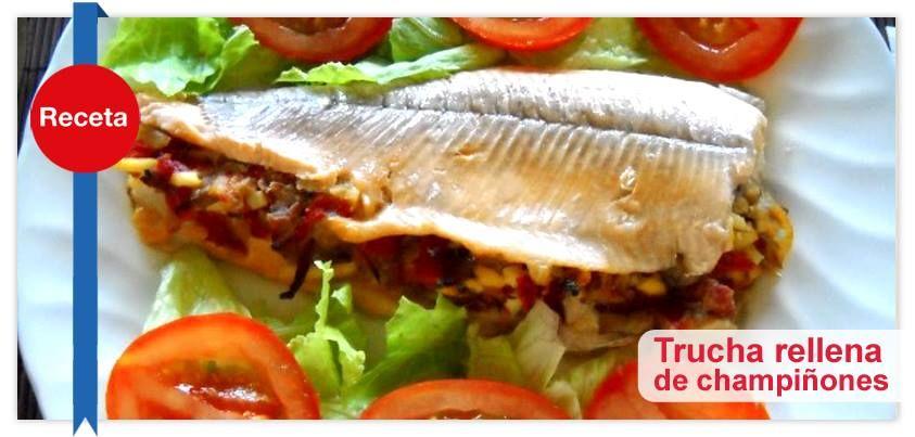 Esta es una forma muy deliciosa de preparar una Trucha rellena de champiñones, jamón serrano y cebolla. Es muy fácil de preparar y tiene un sabor increíble: http://vitamar.com.co/trucha-rellena-de-champinones/