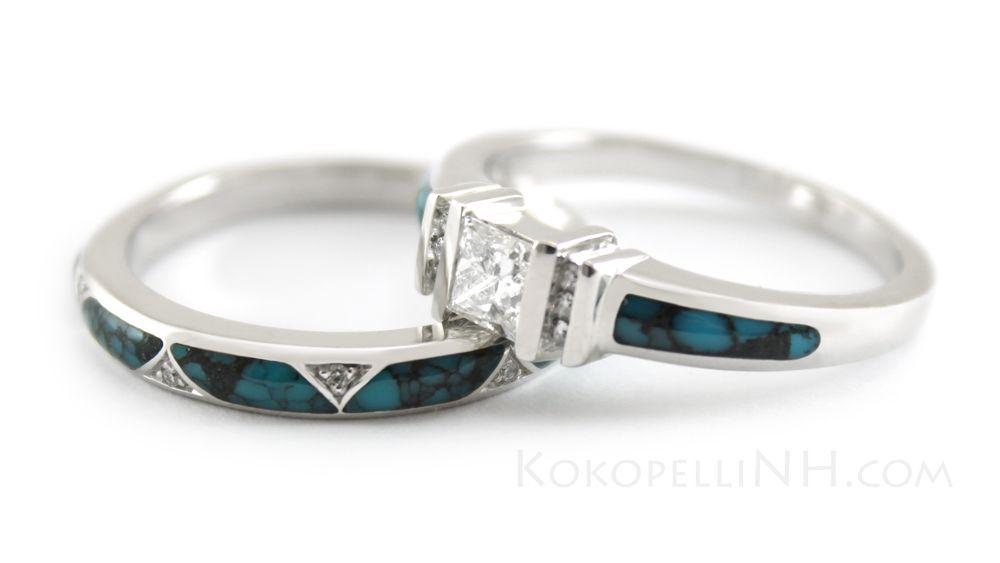 Turquoise Engagement Ring And Wedding Band Turquoise Ring Engagement Turquoise Wedding Rings Indian Wedding Rings