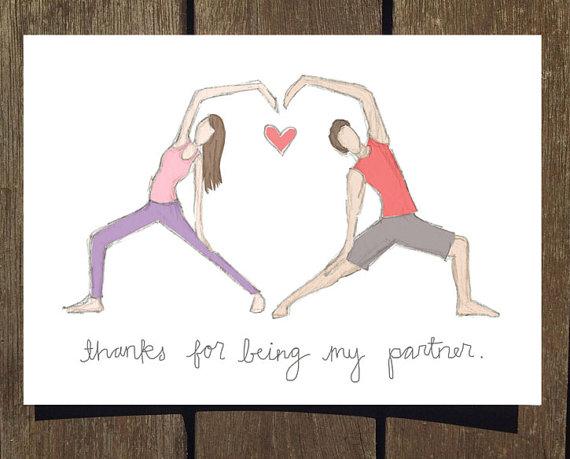 Partner Yoga Valentine S Day Card Blank Inside Yoga