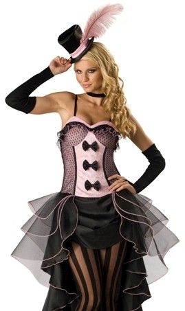a sexy pink and black burlesque or can can dancer costume in character burlesque babe - Can Can Dancer Halloween Costume
