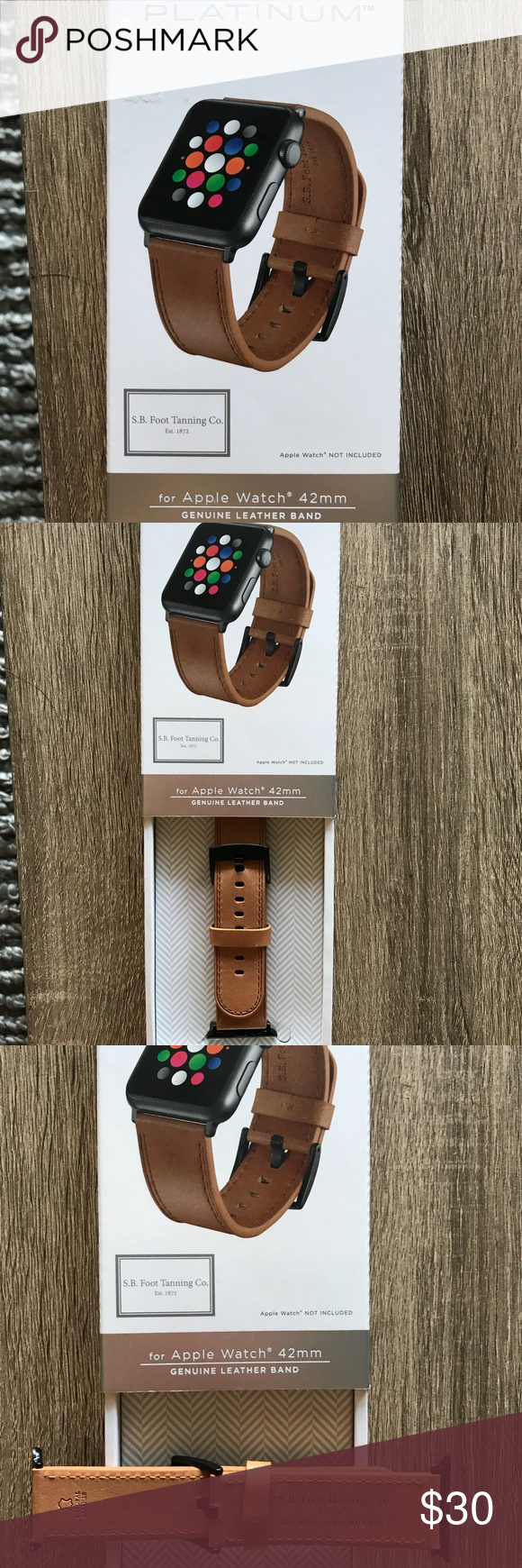 finest selection 53d88 31afb NWOT Platinum Brand Leather 42mm Apple Watch Strap Brand new, box ...