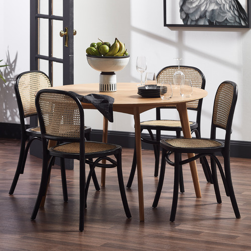 Luca Beech & Rattan Dining Chairs (Set of 2)