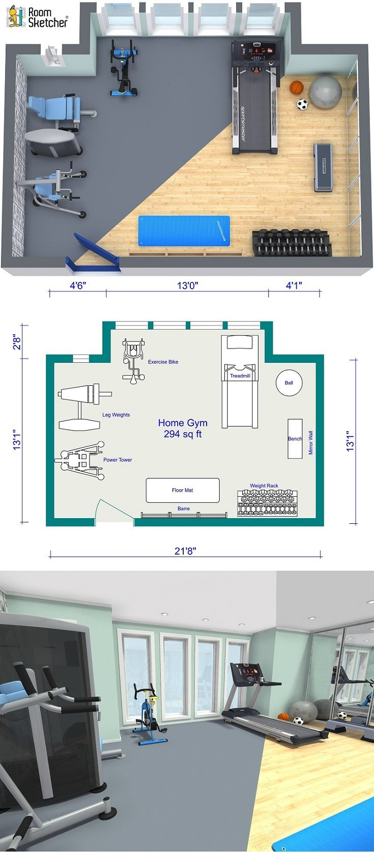 Home Gym Design: Design A Room With RoomSketcher In 2019