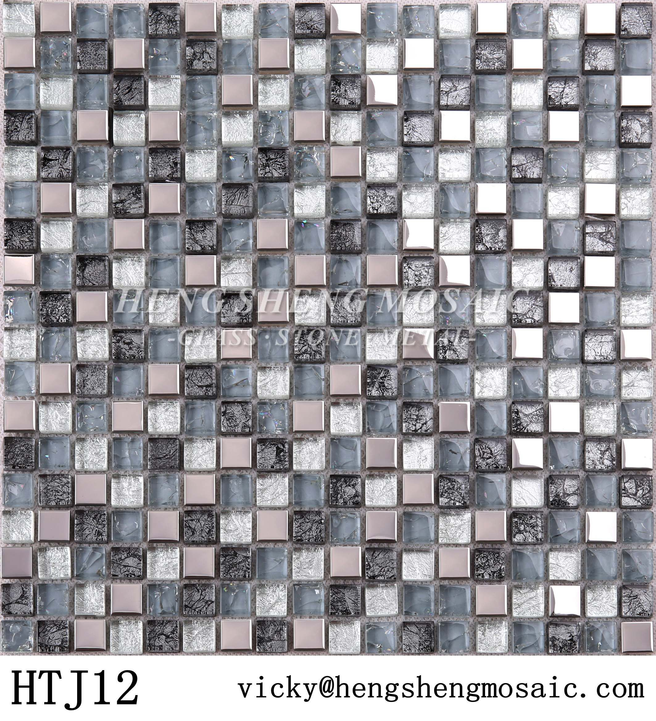 Classical Mini Glass Gold Foiled Mix Metal Stainless Steel Mosaic