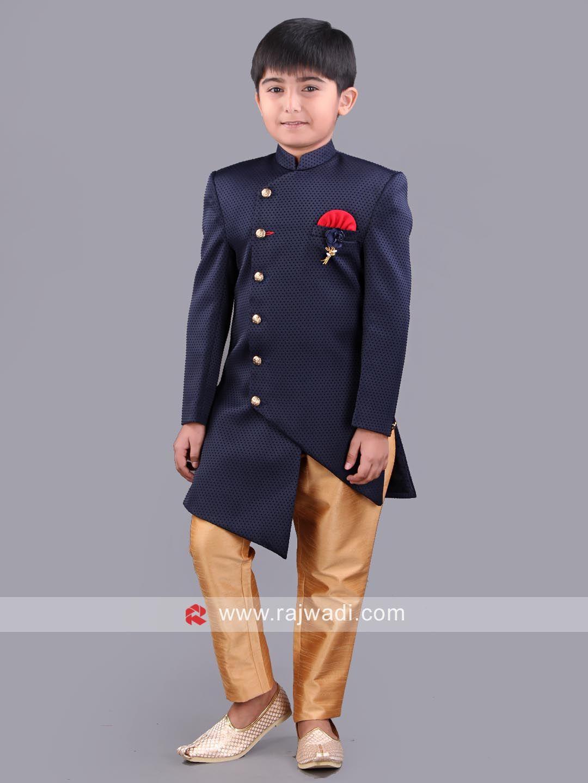 9cfa4951db9e Emboss Fabric Kids Indo Western in Navy Color  rajwadi  kidswear  boys   ethnic  traditional  modern  trendy  fashionable  kidsfashion