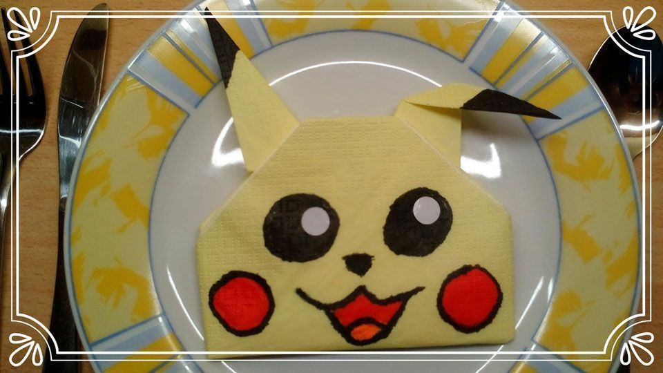 Servietten falten Pikachu - Tischdeko Servietten falten