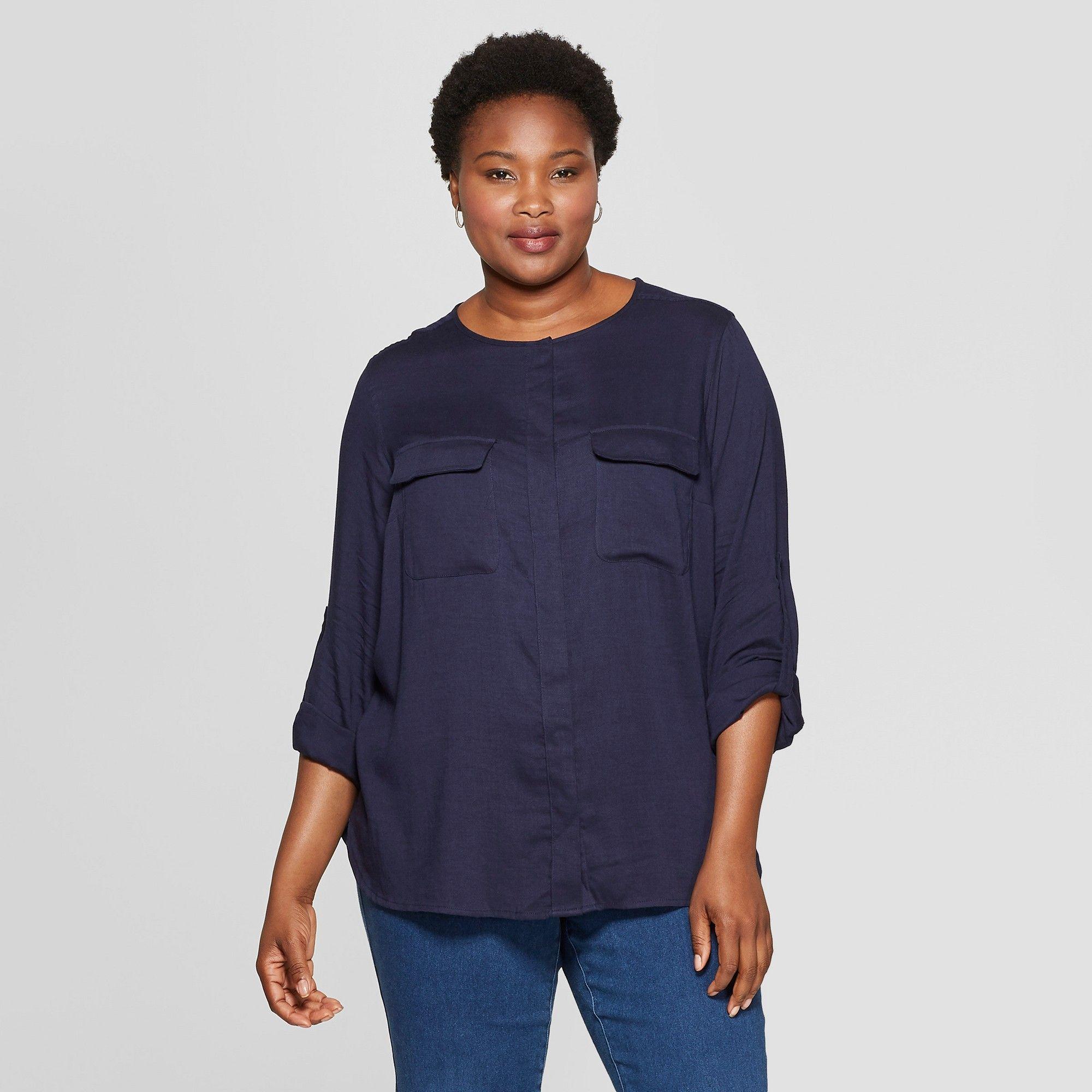 2d45f4cfd Women's Plus Size Utility Pocket Long Sleeve Shirt - Ava & Viv Navy (Blue)  4X
