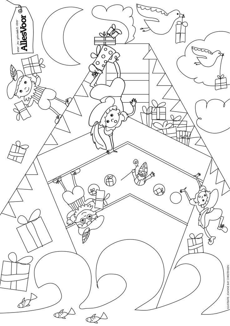 Kleurplaat Sinterklaas Sinterklaas Pinterest