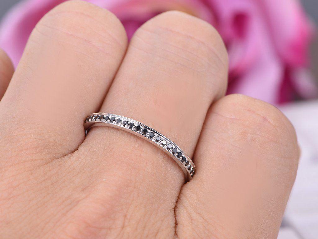 Black Diamond Wedding Band Eternity Anniversary Ring 14K White Gold ...