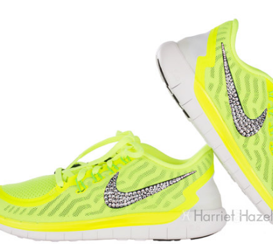 online store 62d45 e887d Over Half Off Womens 2015 Nike Free 5.0 shoes in Volt with Swarovski crystal  details
