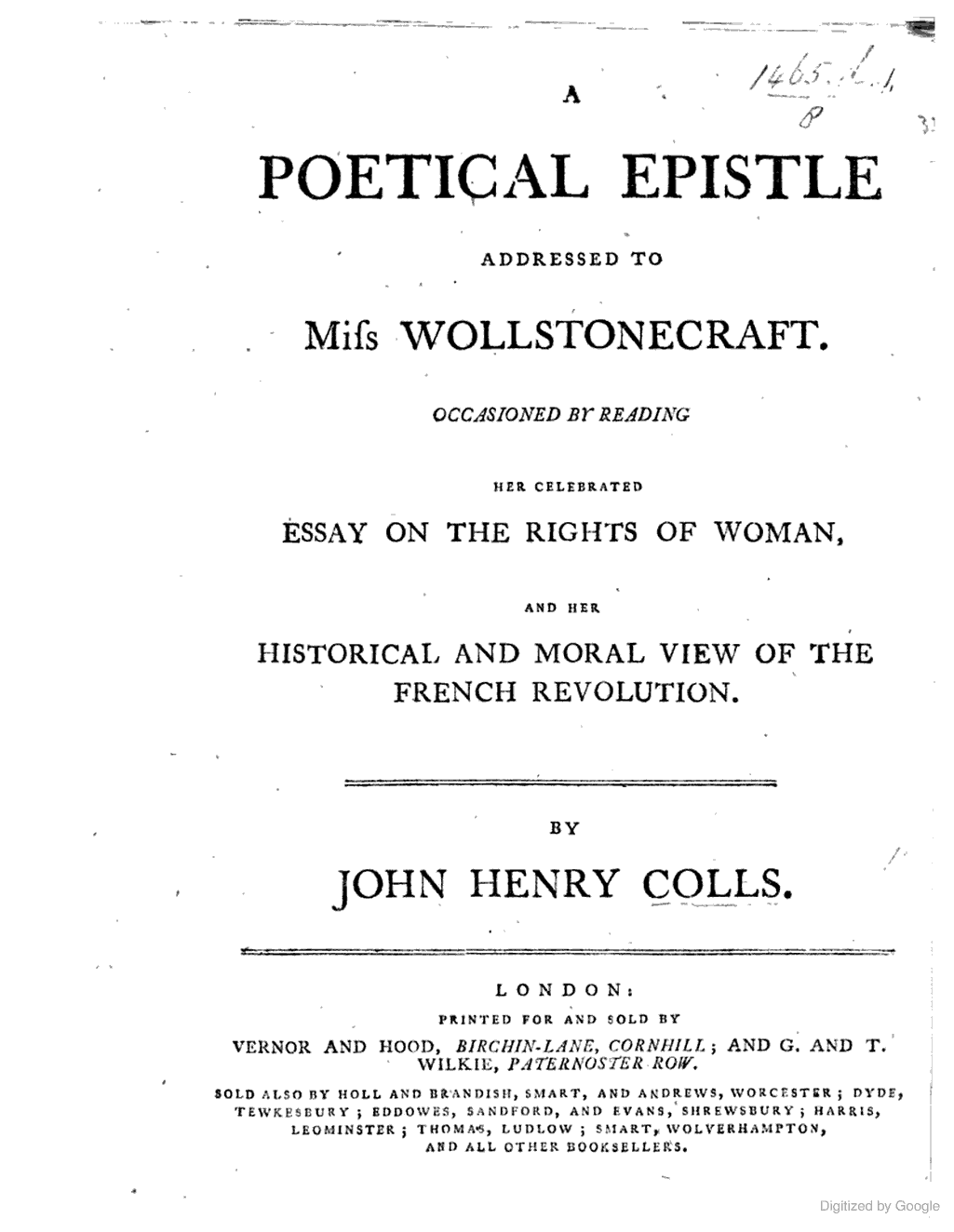john henry colls  a poetical epistle addressed to miss
