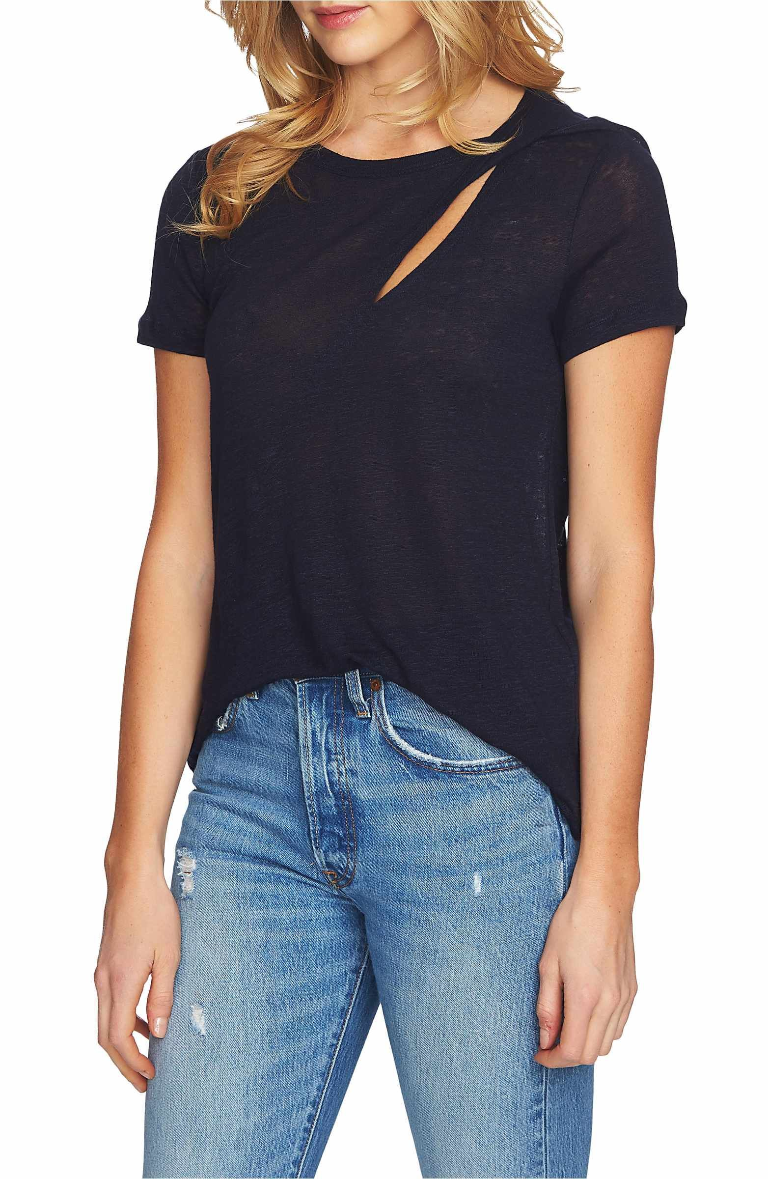 STATE Cutout Linen Tee | Nordstrom