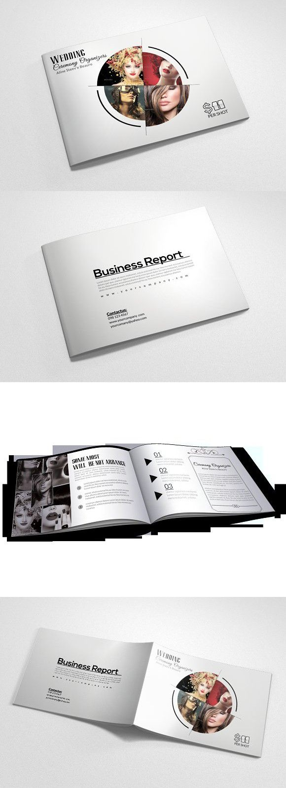 4 Pages Fashion Bi Fold Brochure . Creative Business Card Templates ...