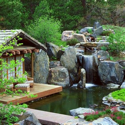Zen garden, boulders, waterfall, pond, deck, meditation space