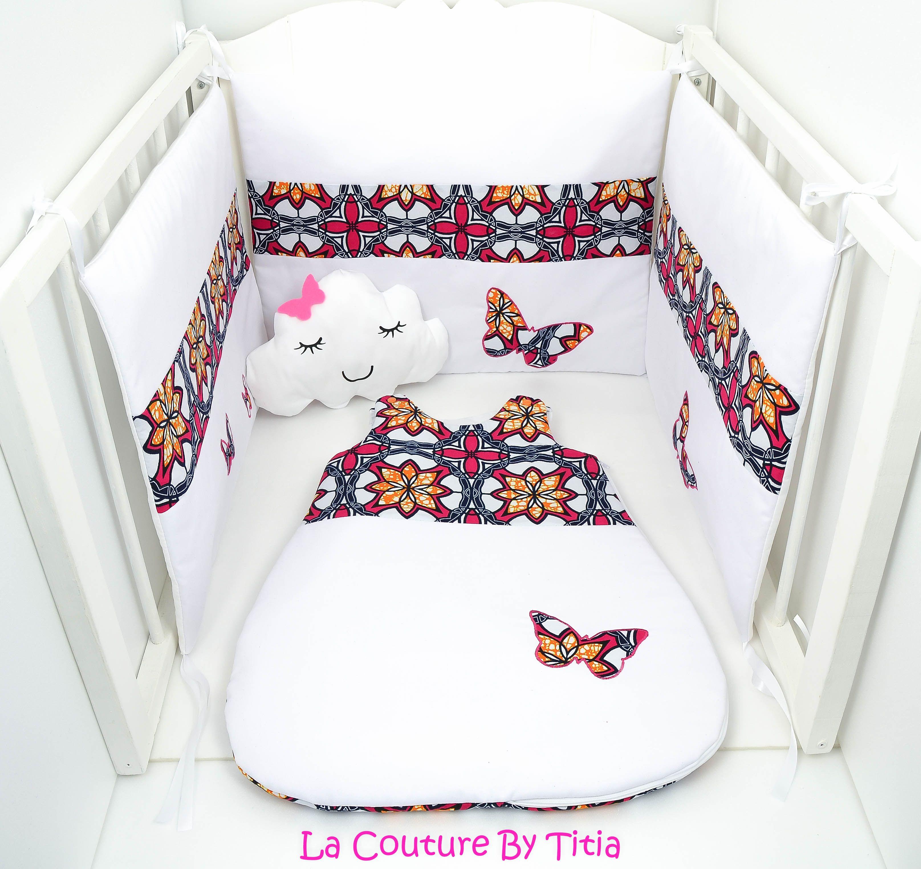 Tour De Lit Et Gigoteuse Wax Blanc Jaune Et Papillon Fuchsia Baby