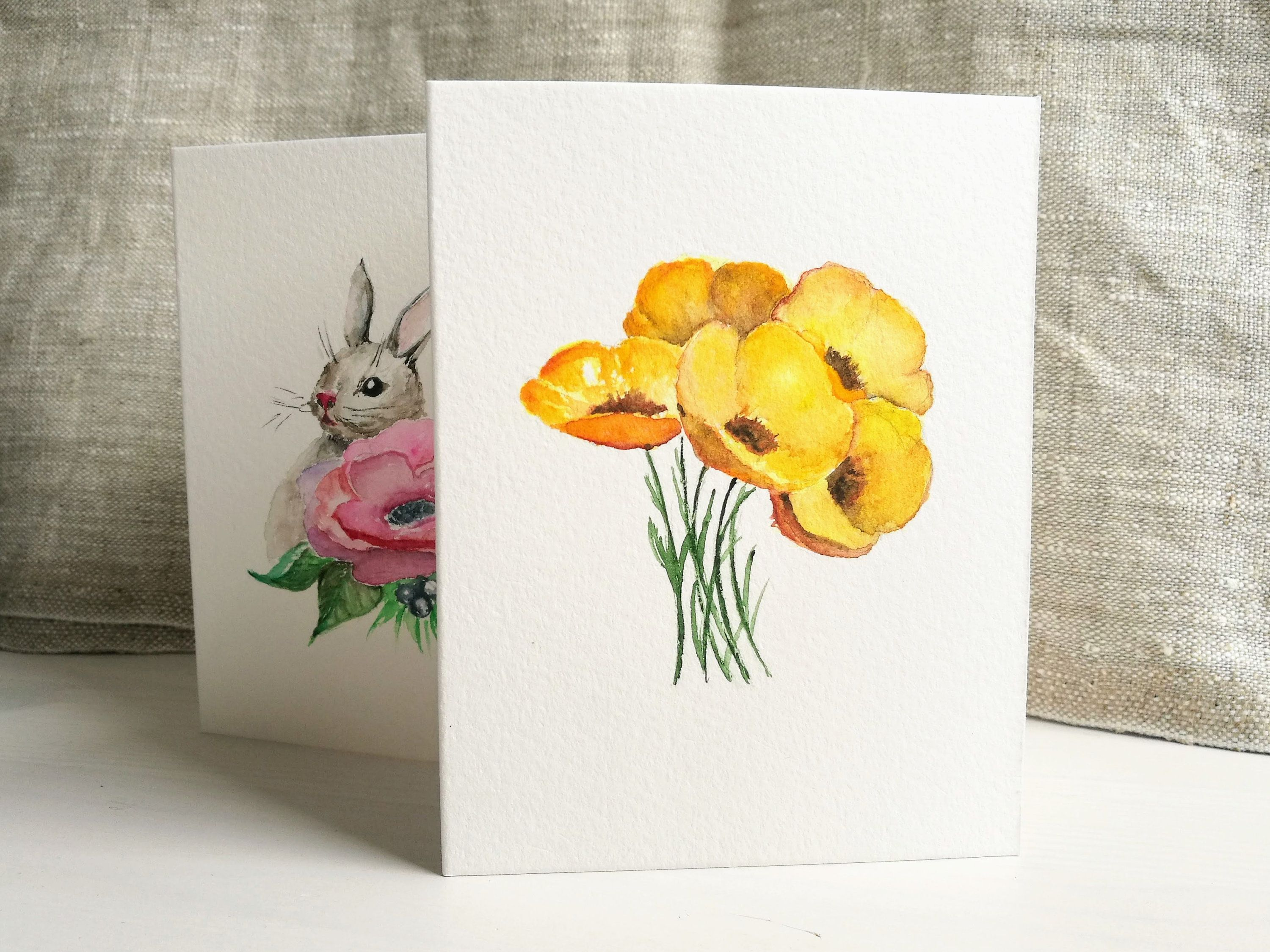 Yellow Bouquet Aquarelle Card Original Watercolor Card Hand